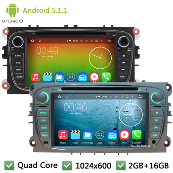 Quad core Android 5.1.1 1024*600 RDS Car DVD Player Radyo Stereo ses Ekran Ford Galaxy C-MAX S-MAX Focus Kuga Mondeo Için GPS