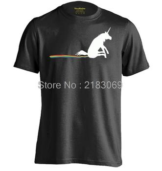 Unicorn Gökkuşağı Butt Ovmak Mens & Womens Pamuk Komik T Shirt Baskı T Shirt