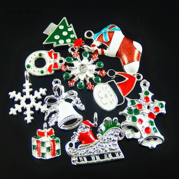 Wholesale 15pcs Colorful Mixed Christmas Snowflake Gift Enamel Charms Pendant Jewelry Making Hanging Art Small Handmade Crafts