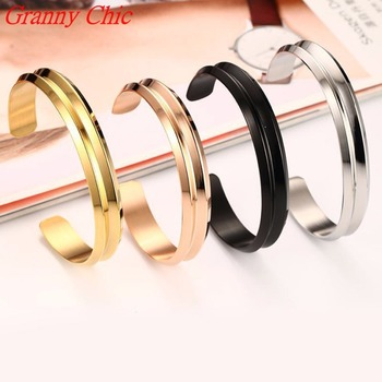 Granny Chic Fashion Silver Rose Gold Black Bangle Customized Jewelry Stainless Steel 10mm Men Womens Cuff Bracelet Couple Bangle